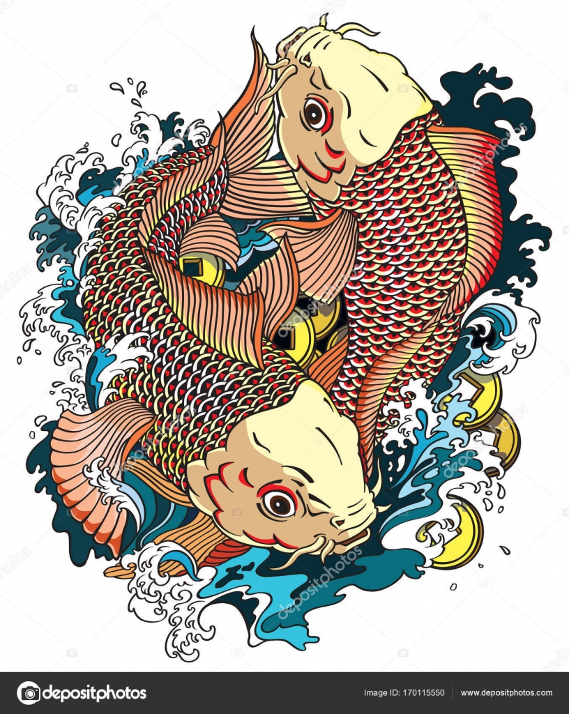 Due pesci di koi vettoriali stock insima 170115550 for Carpa giapponese prezzo