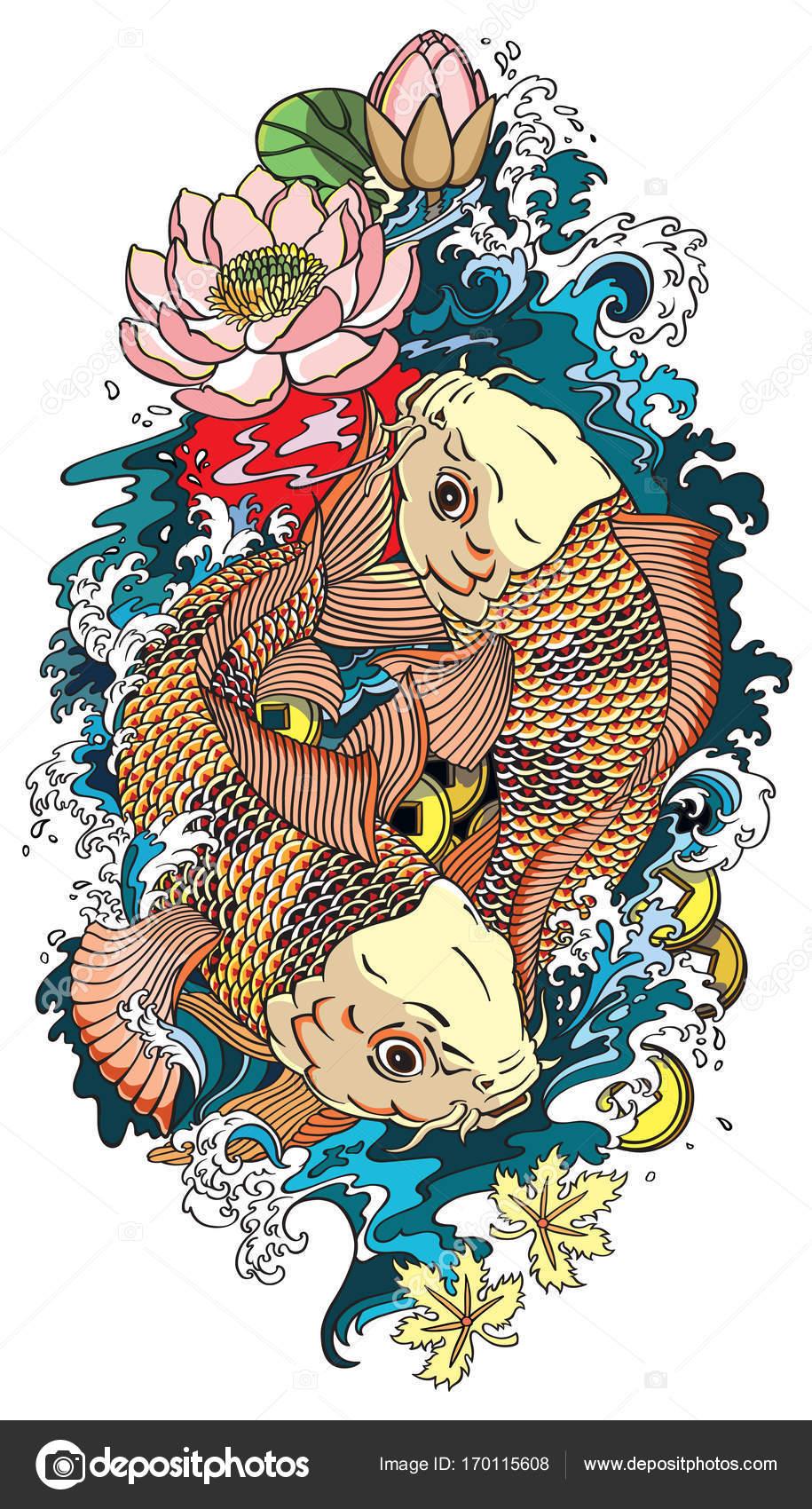 Dibujos Peces Koi Tatuajes De Peces Koi Dos Vector De Stock