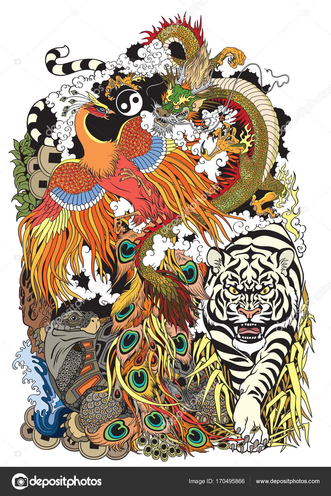 Symboles D Animaux Feng Shui Image Vectorielle Insima C 170495866