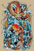 Photo koi carp fish and dragon gate illustration according Asian mythology