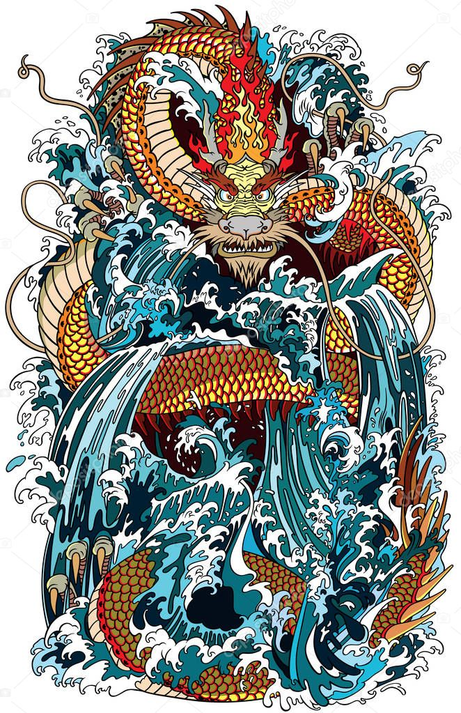 Asian Tattoos Illustrations: Japanische Wasser Drachen Ein Traditionellen