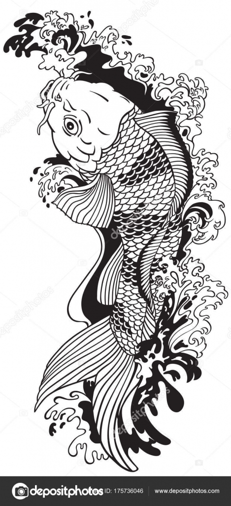 Carpe Koi Dessin poisson carpe koi nager amont dessin style tatouage noir blanc