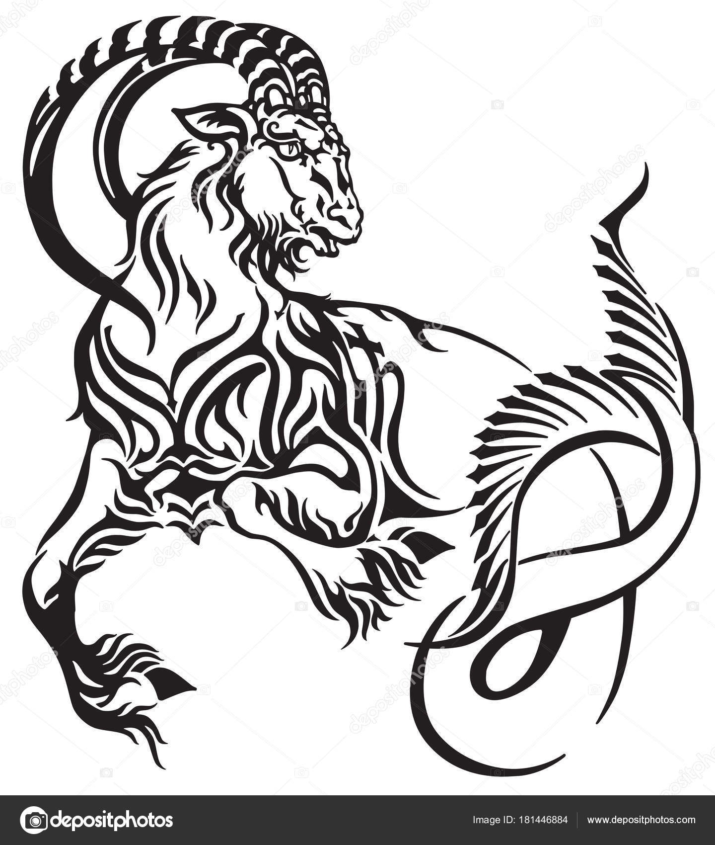 Capricorn Zodiac Sign Tribal Tattoo Style Mythological Creature