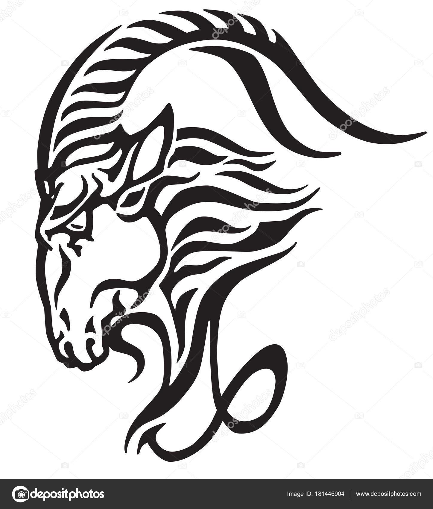 Koziorożec Logo Głowa Kozy Mitologiczny Morze Plemienny