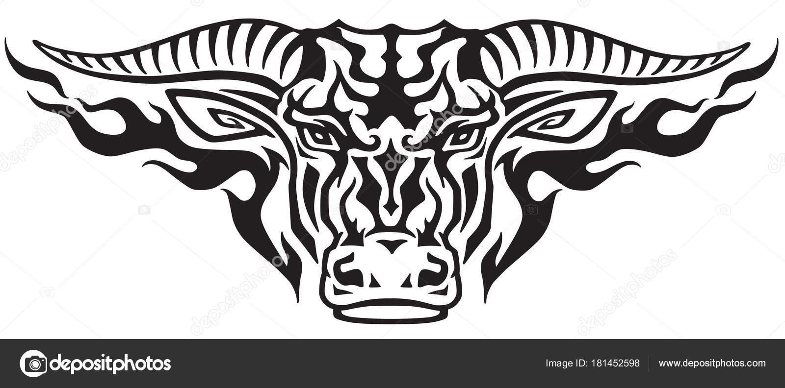 Cabeza Toro Tauro Las Llamas Ilustración Vista Frontal