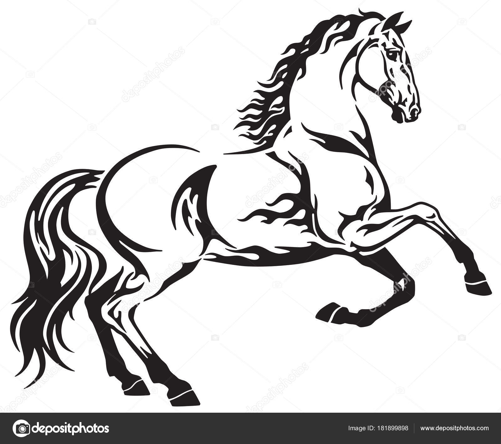 3d Horse Tattoos Horse Tribal Tattoo Black White Side View Vector Illustration Stock Vector C Insima 181899898