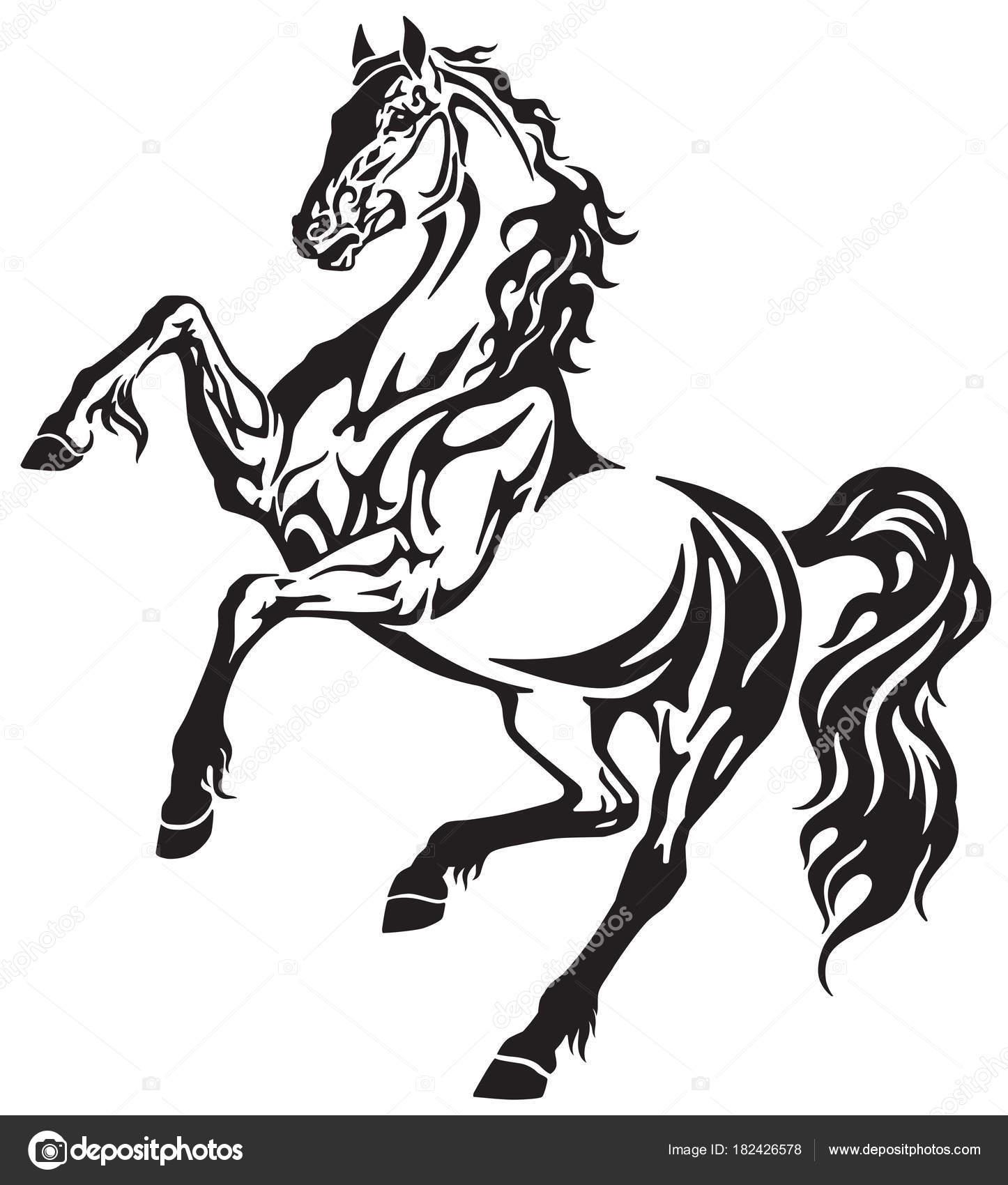 Horse Rearing Tattoo Horse Stallion Rearing Free Movement Elegant Tribal Tattoo Style Black Stock Vector C Insima 182426578