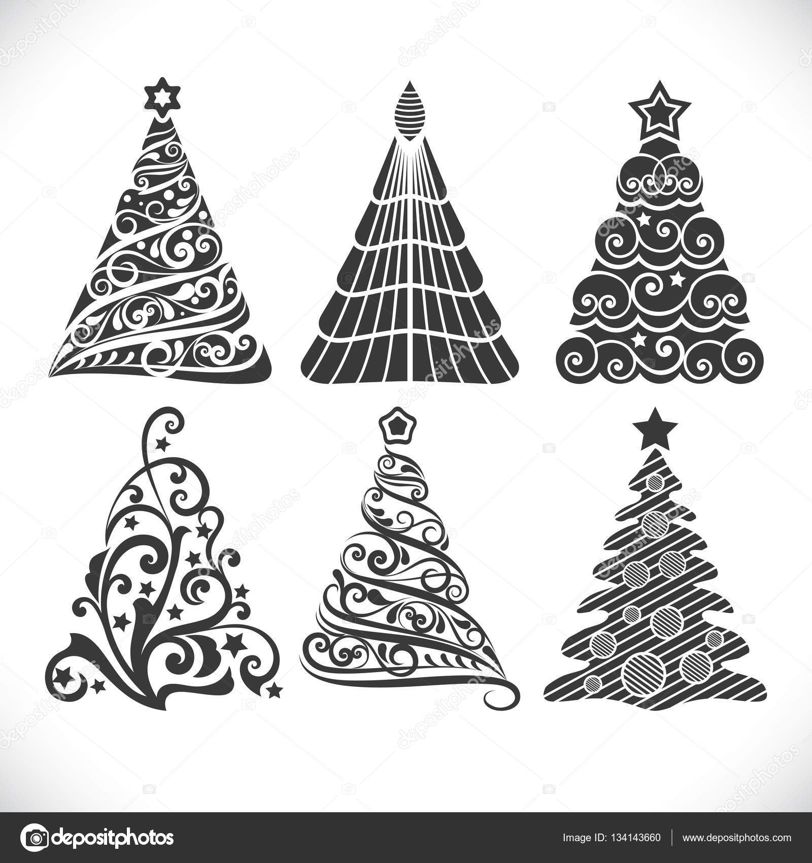Christmas tree black shapes set isolated on white background for