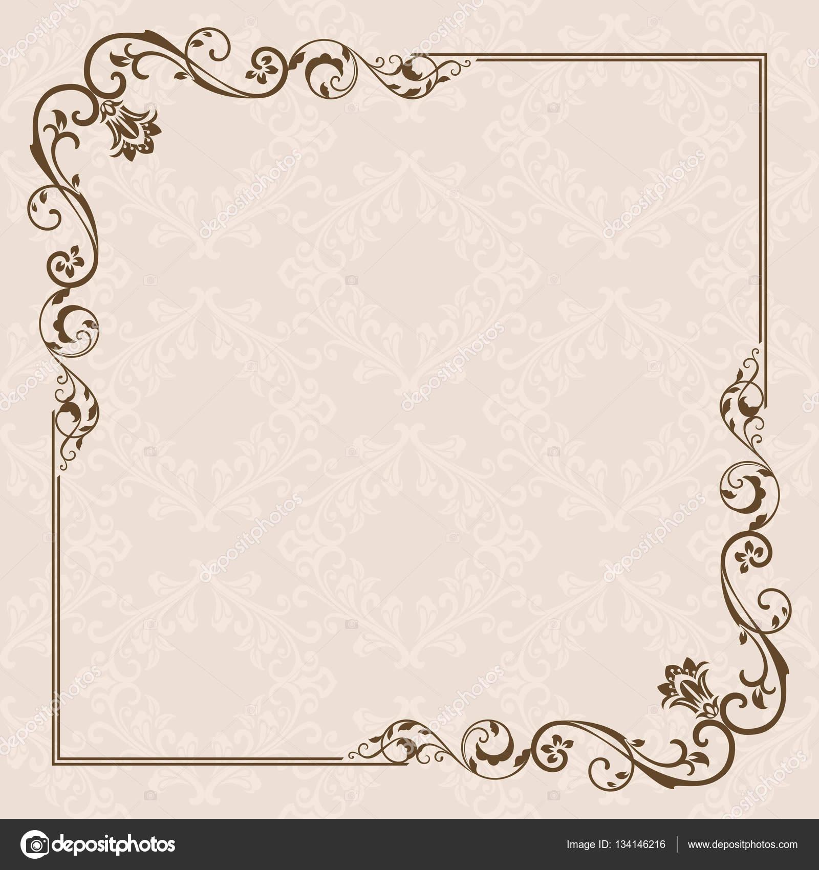 210e68eadb256 Tarjeta vintage con diseño floral del marco. Plantilla de la invitación con  espacio de copia - vector  tarjeta marco vintage — Vector de ...