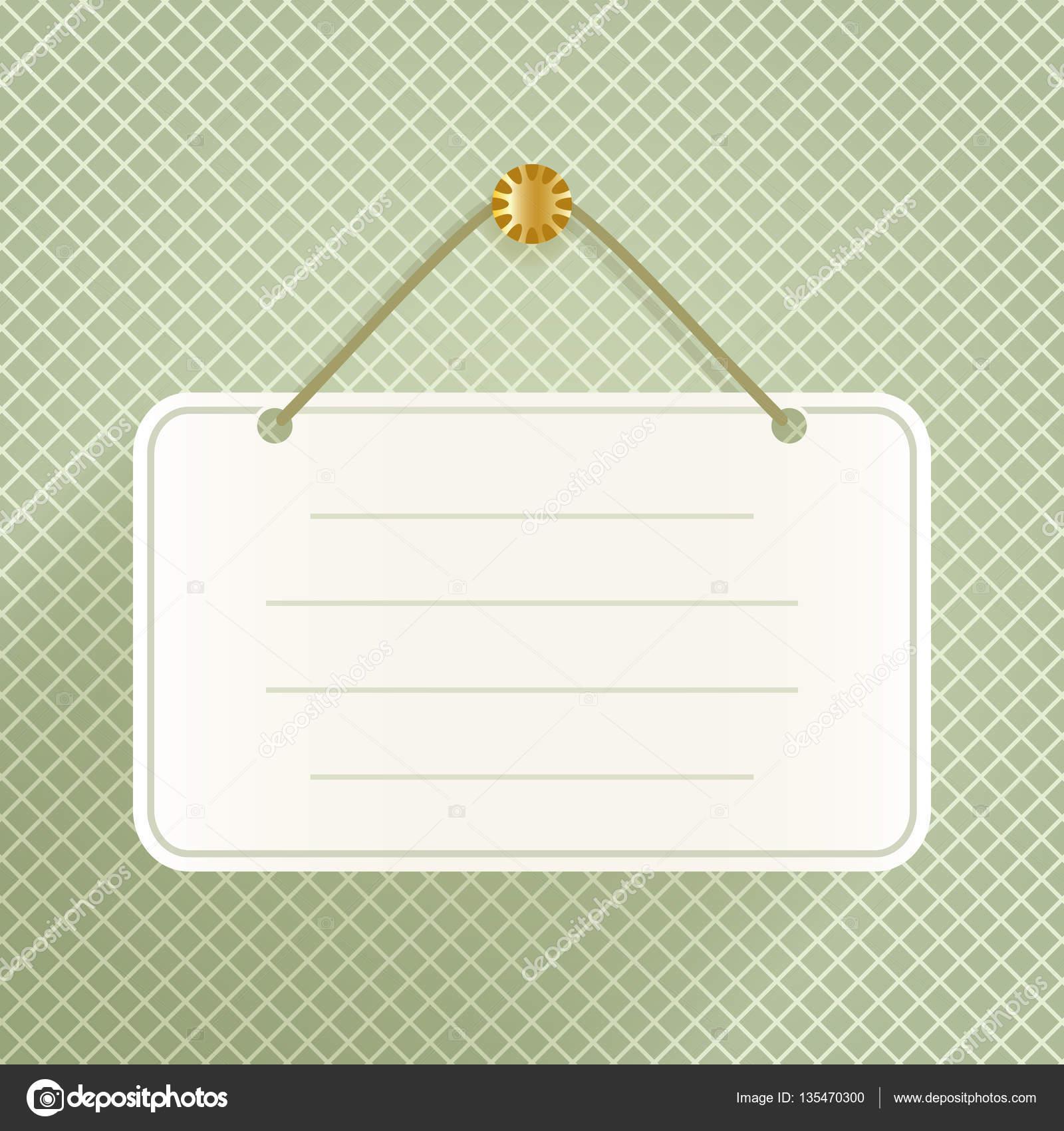 Placa de anuncio en blanco en la plantilla de vector de la pared ...