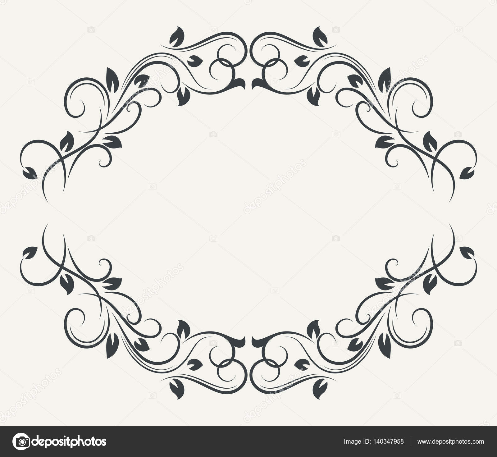 Black and white floral frame — Stock Vector © lenapix #140347958