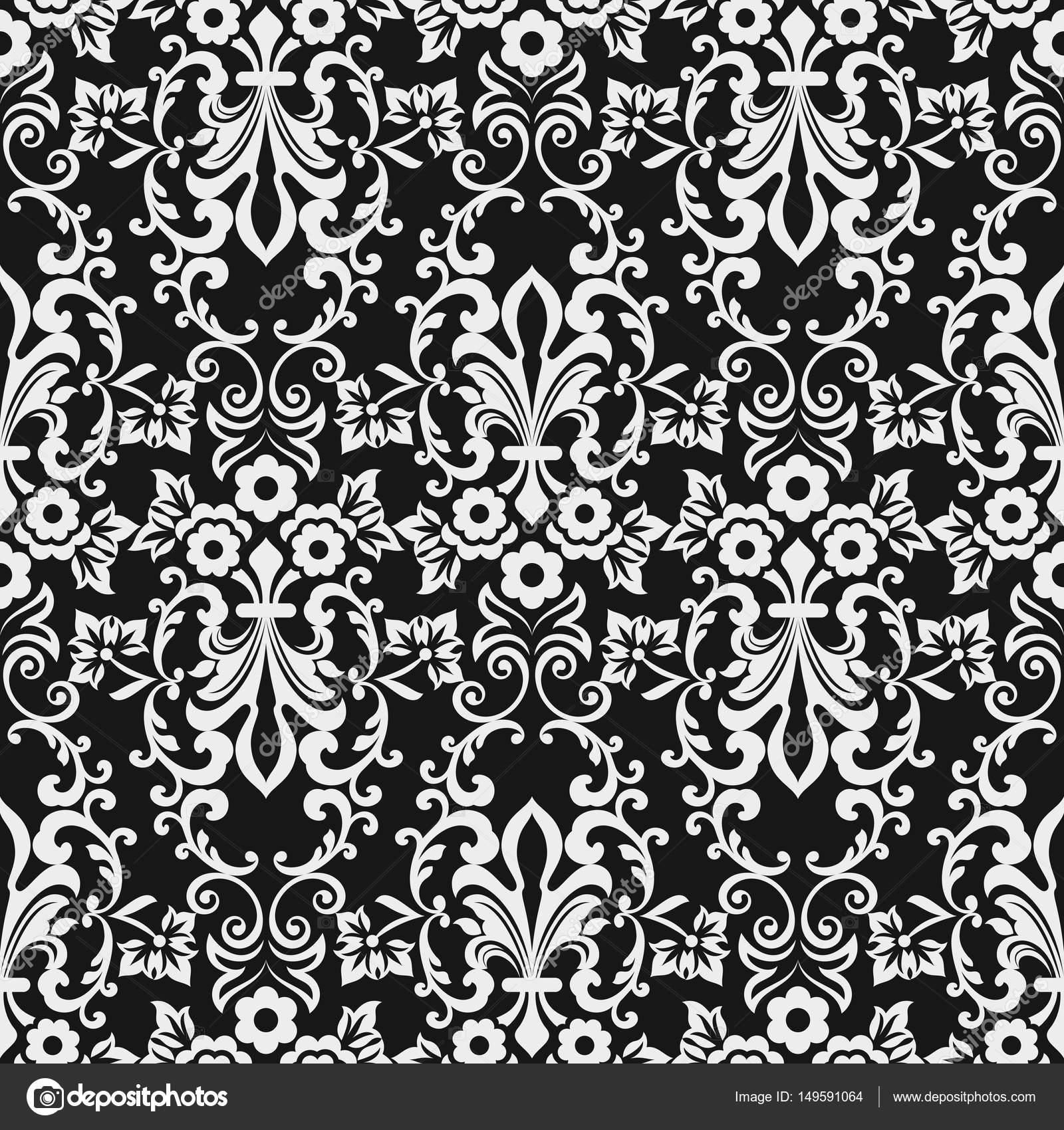 schwarzen und weien nahtlosen floral tapete muster stockvektor - Tapete Muster