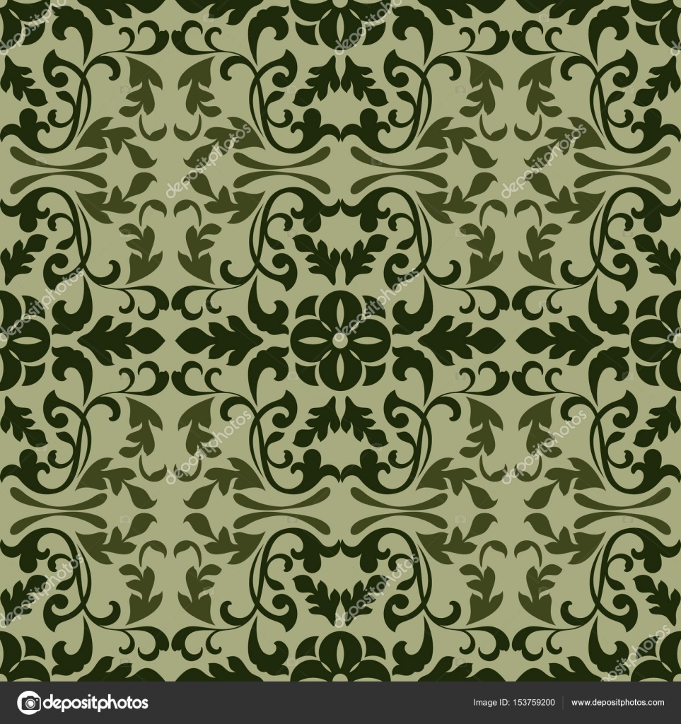 Dark Green Vintage Wallpaper Pattern Vector Illustration Stock