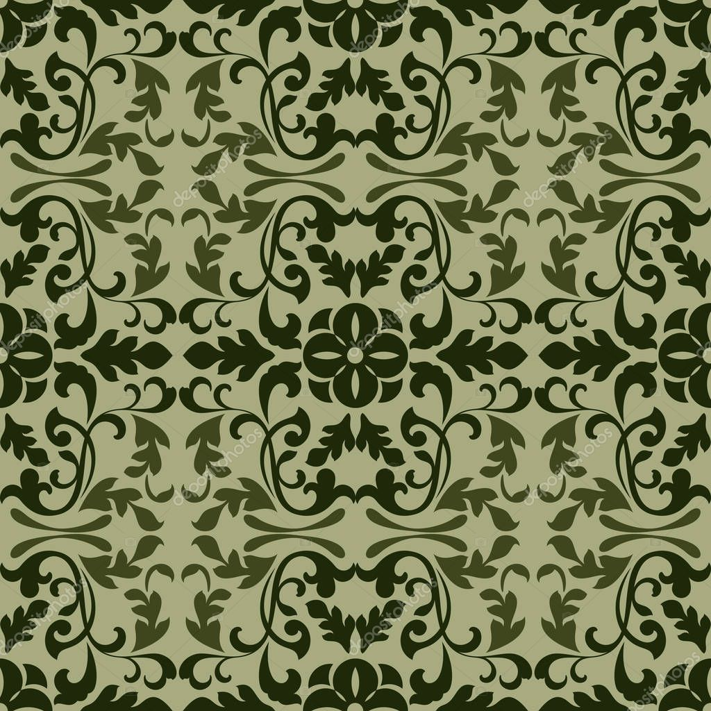 Illustration Vectorielle De Papier Peint Vintage Vert Fonce Motif