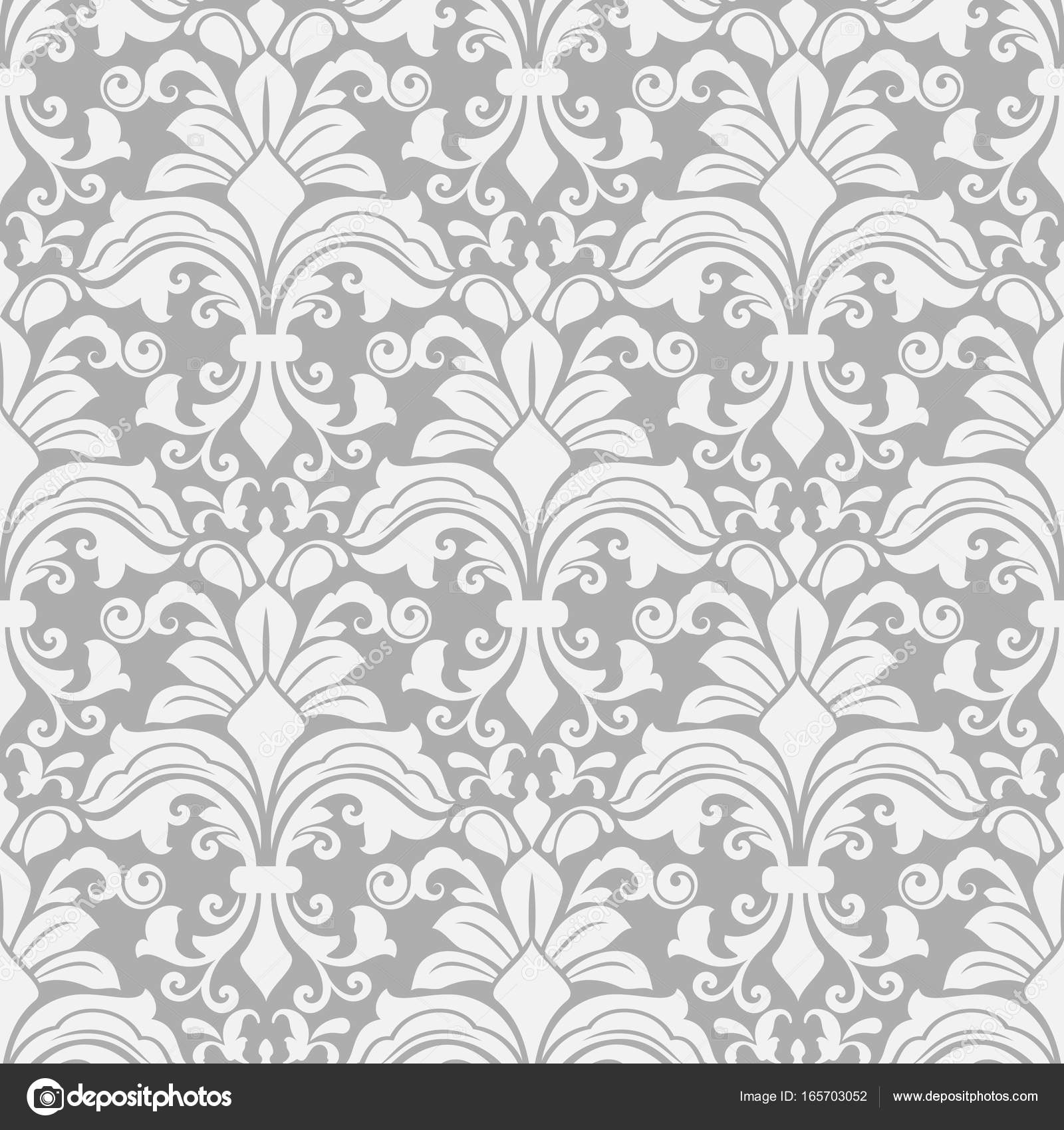 seamless white and grey floral background � stock vector