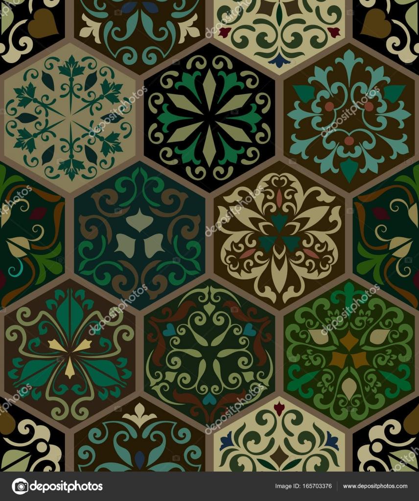 Papier Peint Vintage Transparente Ornee A Six Pans Creux Image