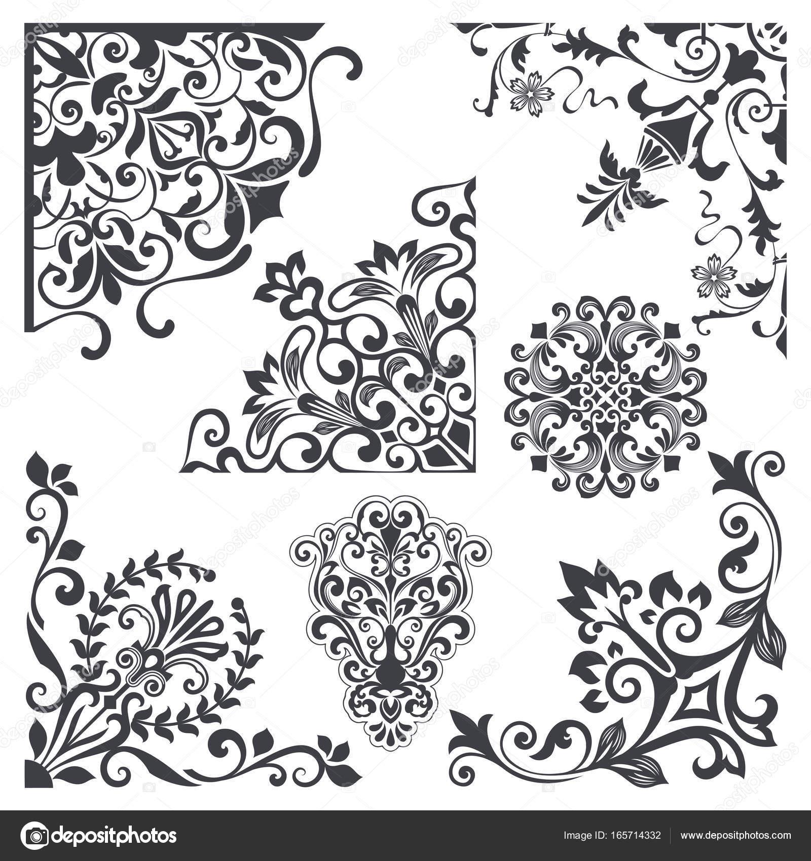 Vintage decorative floral corner design elements vector set