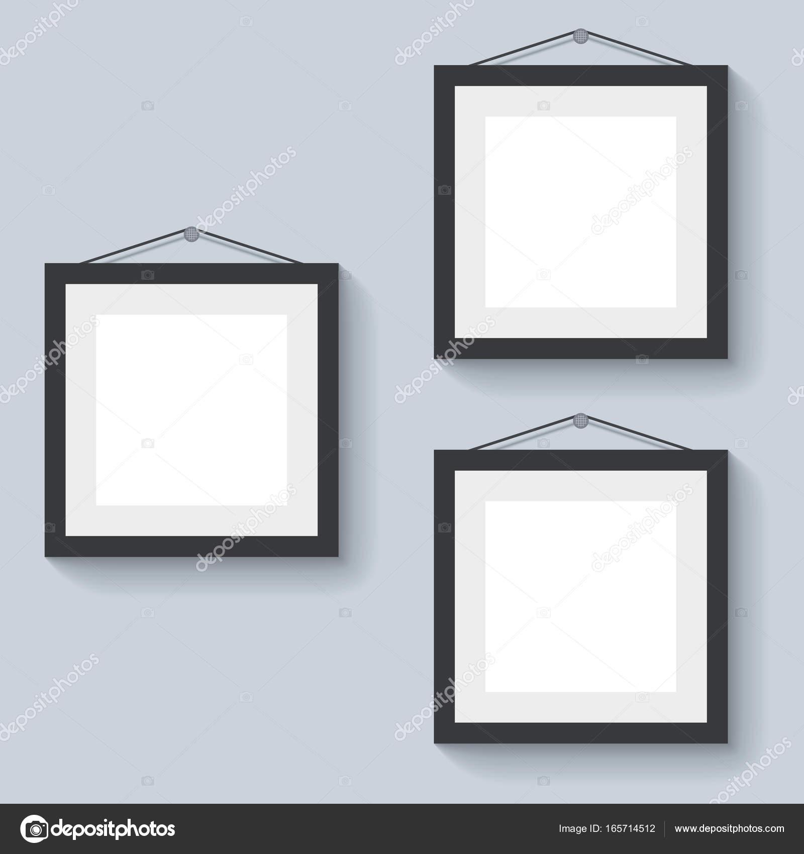 Marcos en blanco colgado en la pared — Vector de stock © lenapix ...