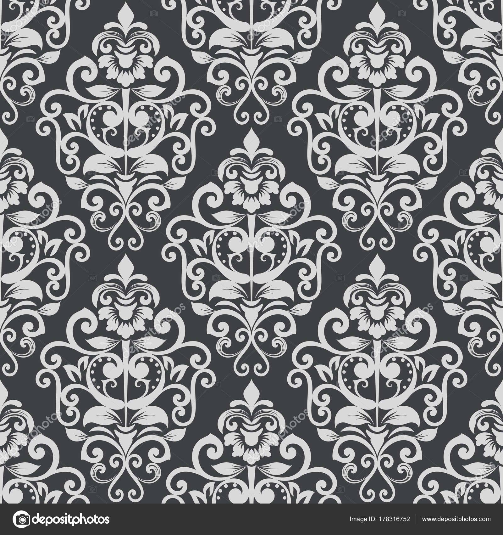 Black And White Vintage Wallpaper Pattern Stock Vector