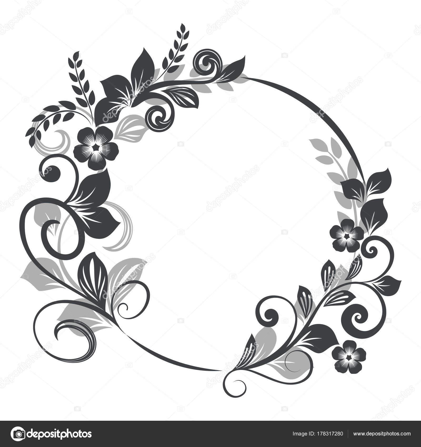 marco floral redondo Vintage — Vector de stock © lenapix #178317280