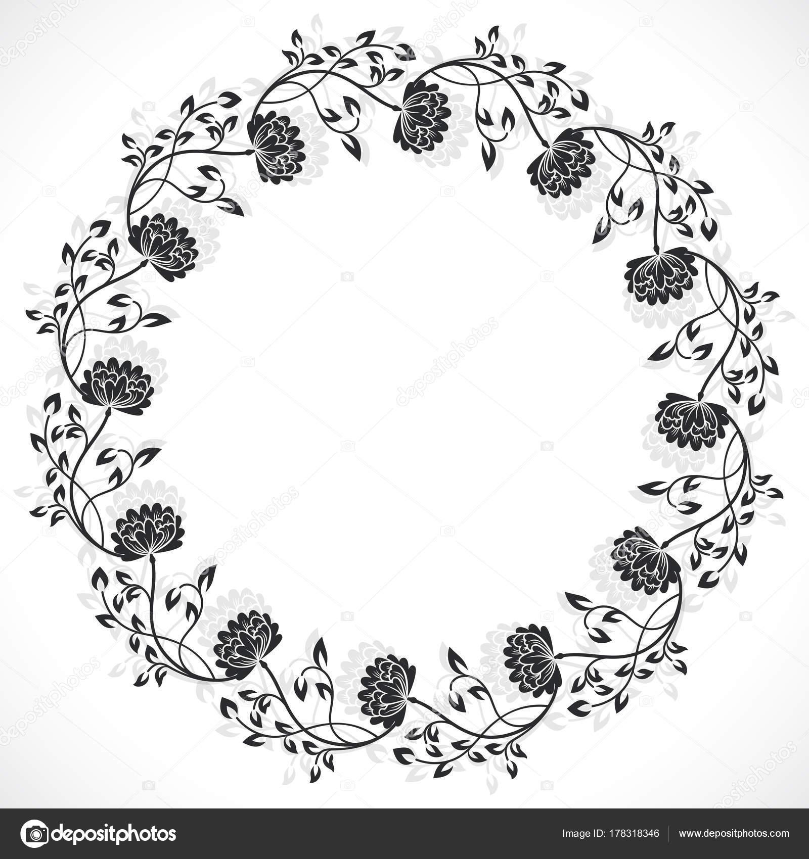 marco floral redondo — Archivo Imágenes Vectoriales © lenapix #178318346