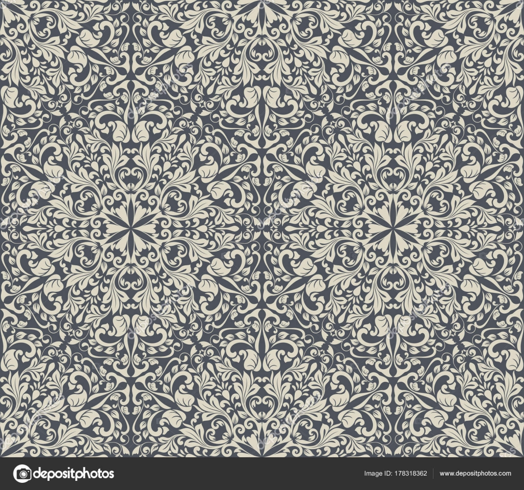 Dark Grey And White Vintage Floral Wallpaper Pattern Vector Illustration By Lenapix