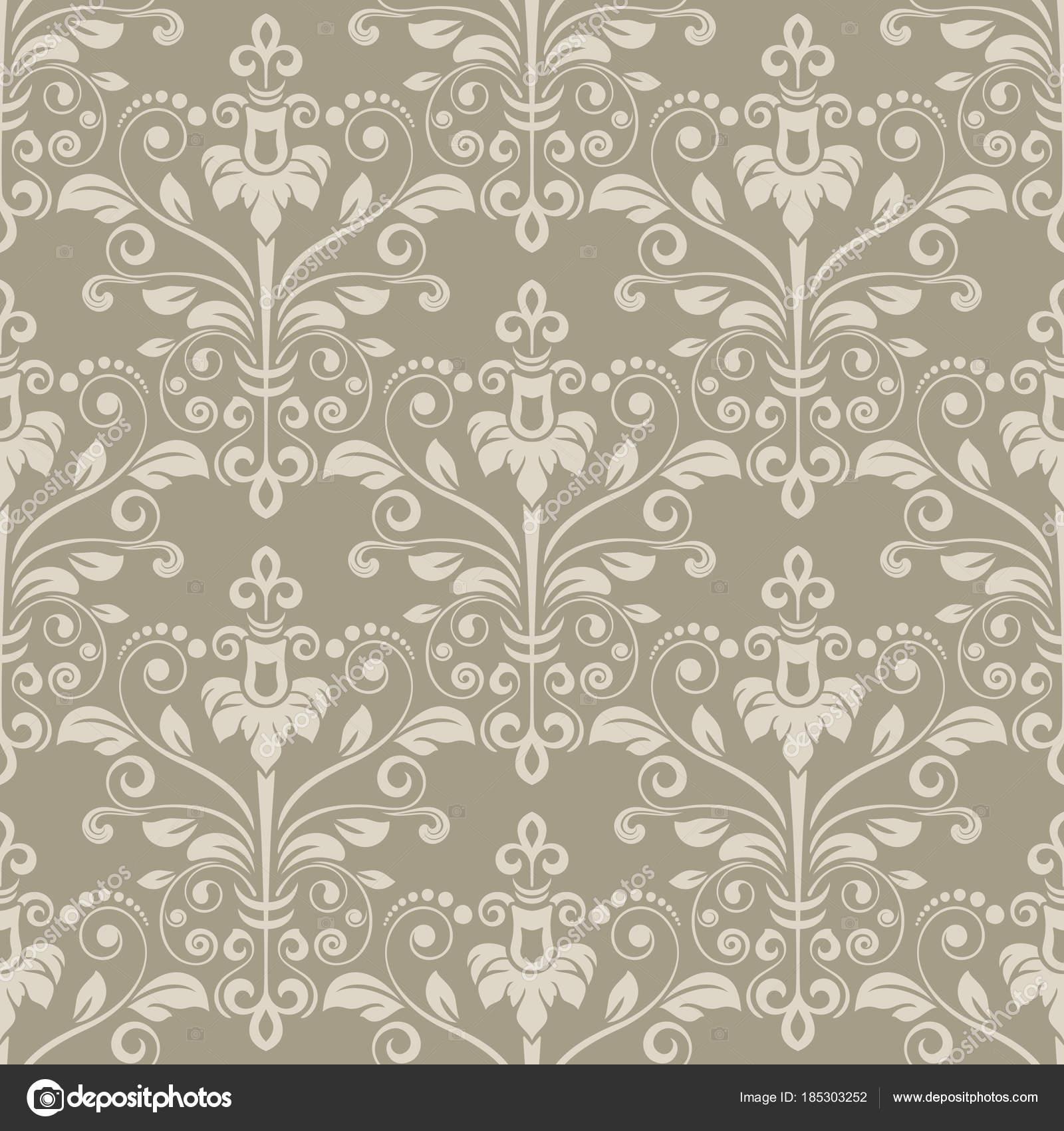 Vintage Beige Floral Wallpaper Stock Vector C Lenapix 185303252
