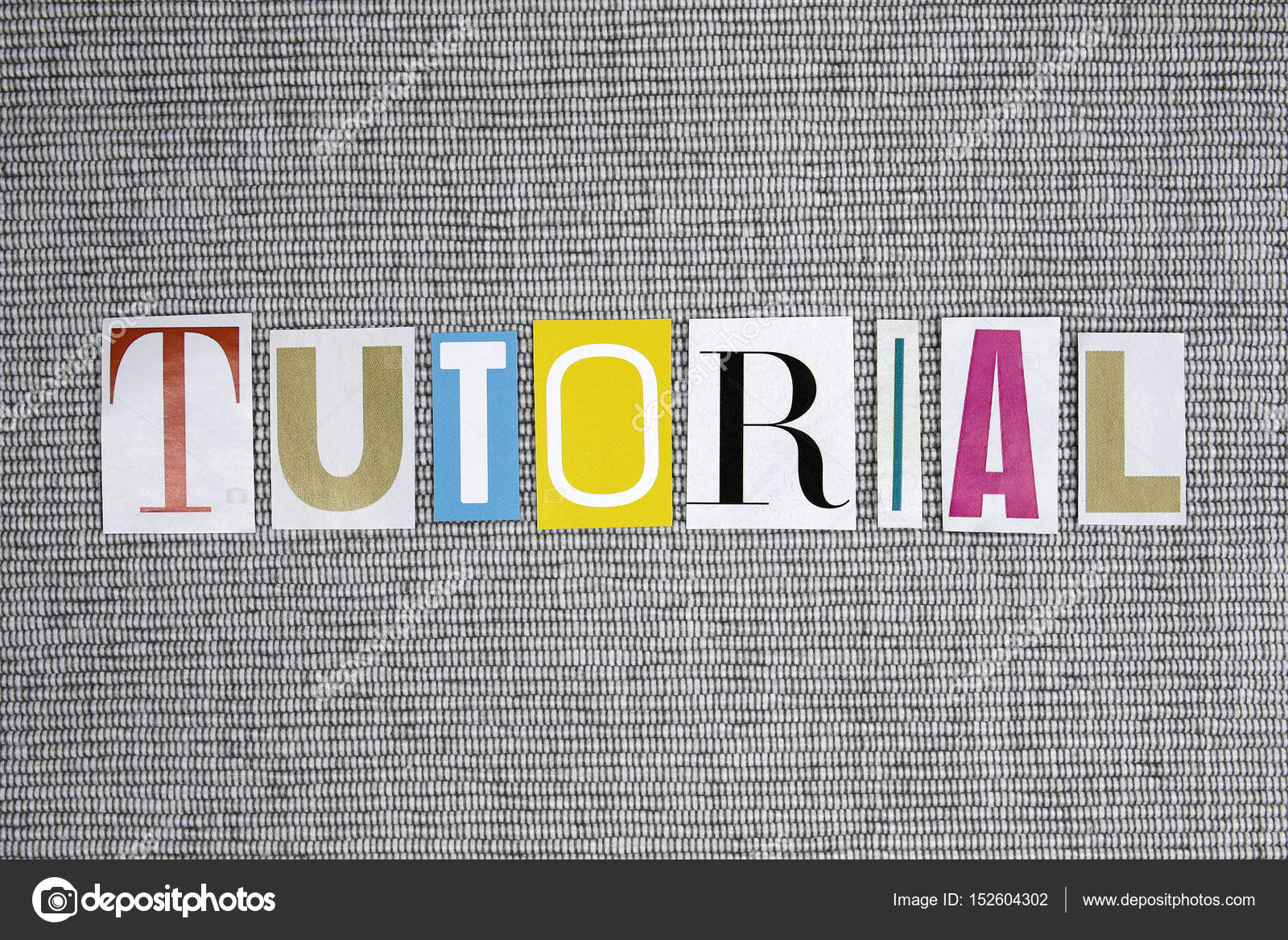 tutorial word on grey background stock photo chrupka 152604302