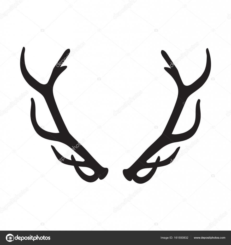 Silhouette noire du bois de cerf image vectorielle - Dessin bois de cerf ...