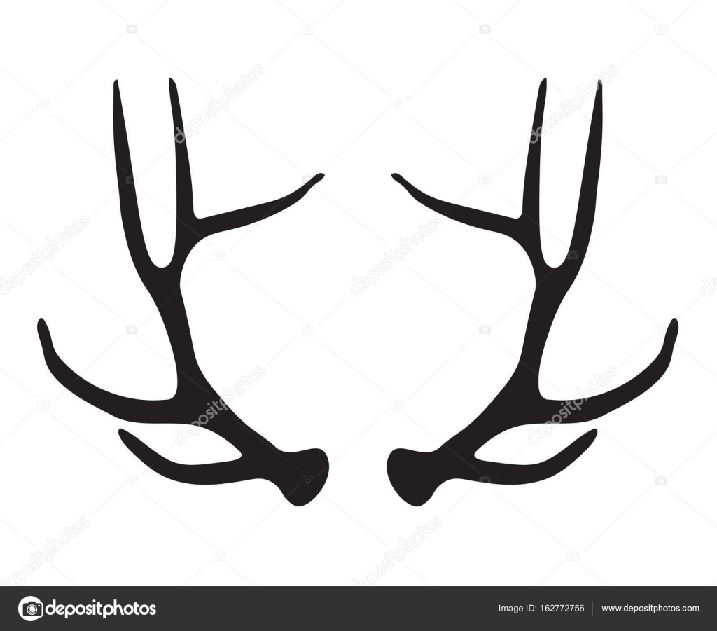 black silhouette of deer antlers vector illustration stock vector rh depositphotos com deer antler vector free deer antler vector images
