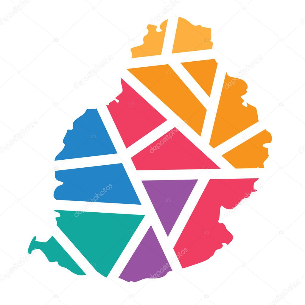 colorful geometric Mauritius map- vector illustration