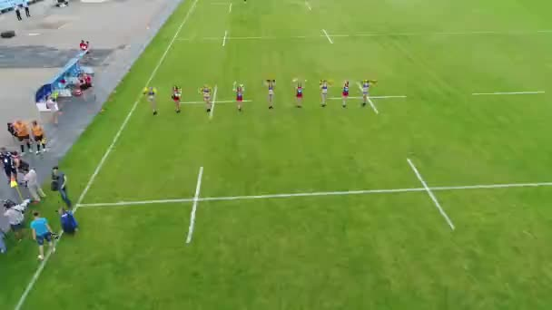 Female rugby players training stadium meteor dnipro aerial panoramic top view flying sky drone copter