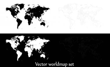 Vector world map illustration isolated over white and black back