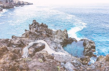 Scenic of Tenerife, canary islands natural sea water pool in the ocean atlantic - Concept of seascape, travel and nature