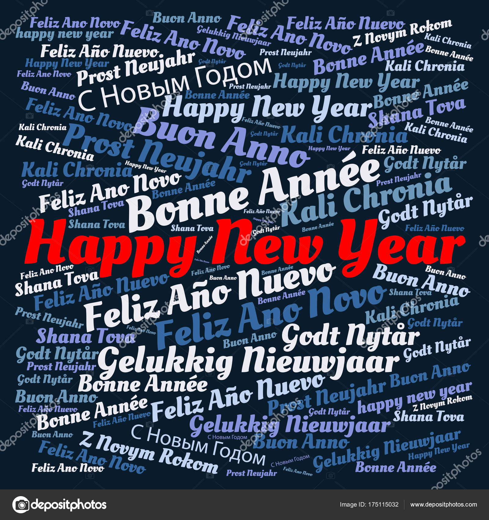 Word Cloud Met Gelukkig Nieuwjaar In Verschillende Talen