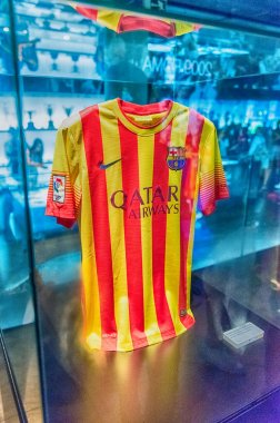 FC Barcelona away shirt, Camp Nou Museum, Barcelona, Catalonia, Spain