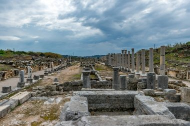 Antalya - Turkey. February 20, 2018. Perge Ancient City, Antalya - Turkey. Perge, located 19 km east of Antalya, used to be one of the most important cities of ancient Pamphylia.