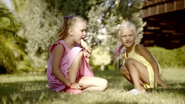 sedí dvě holčičky s plavými vlasy na trávě ve dvoře v krajině ve slunečný letní den