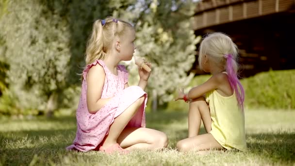Two sisters sit on the grass in the park, the girl has a sweet ice cream in the horn, she wants to share with her friend
