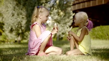 Two little cute girls, sisters sitting on the grass on the lawn in the summer