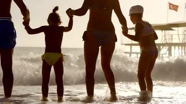 Bella famiglia sta avendo divertimento sulla spiaggia