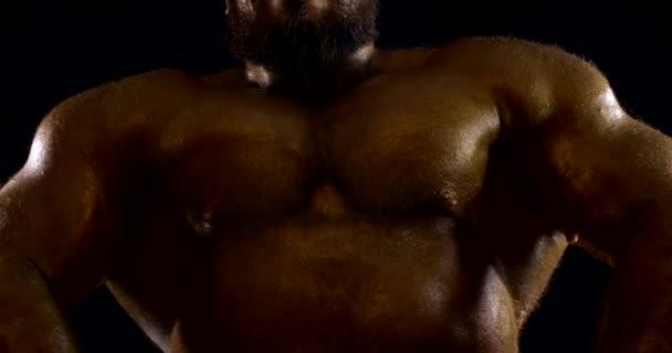 detailní záběr na mužskou hruď a ramena s bronzovou kůží na černém pozadí. kulturista namáhá svaly, pak se otočí bokem a ukazuje biceps
