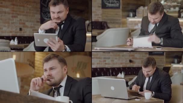 obchodník pracuje s notebookem, tabletem a papírem v kavárně ve dne, kolážový záběr, prohlížení