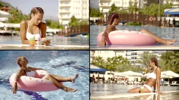 tinédzser lány pihen nyitott medence hotel nyári szünetben trópusi országban