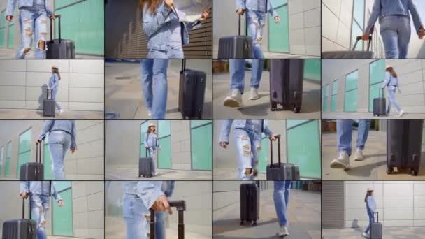 Collage a dark-haired woman in a denim suit: a jacket and torn jeans. She is walking along the building carrying a traveling bag on wheels, on her head she has a hat. She checks the map and walks.