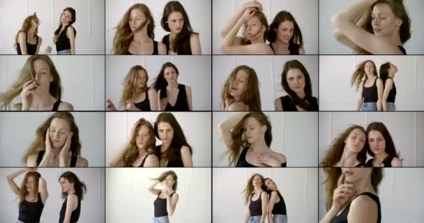 mladé modelky ženy ve studiu, pózující společně a samy, koláž snímků