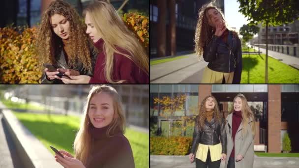 İki öğrenci kadın şehirde yürüyorlar, birlikte ve yalnız, kolaj fotoğrafı.