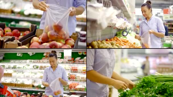 nő vásárol gyümölcsöt, zöldséget és zöldséget szupermarketben, kollázs, választás