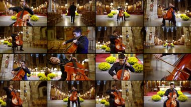 multiple shots collage of musician playing violoncello