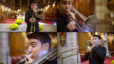 man is playing trombone, concert of classic music in catholic church, collage